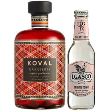 Koval Cranberry Gin Liqueur 0,5L 30% + ajándék J.Gasco Indian Tonic (0,2L)