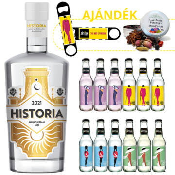 Historia Gin&Tonic csomag ajándék ginfűszerrel és flair nyitóval