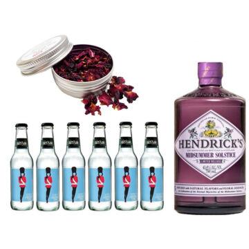 Hendricks Midsummer Gin Tonik Szett Ajándék Rózsa szirommal