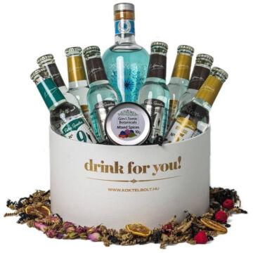 Drink For You feliratos Búzavirág Gin Tonik Ajándék csomag fehér díszdobozban