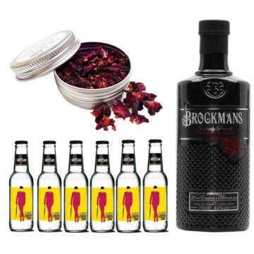 Brockmans Gin Tonik szett ajándék rózsa szirommal