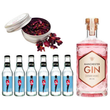 Manchester Raspberry Gin Tonik Home Kit ajándék rózsaszirommal