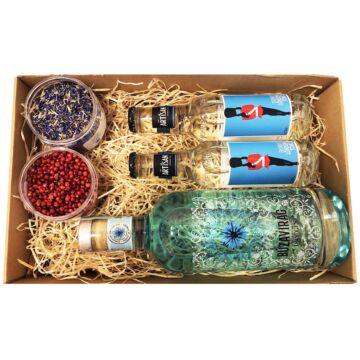 Búzavirág Gin Tonik szett Díszdobozban Ginfűszerrel