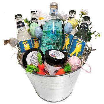 Tavaszi Búzavirág Gin Tonik szett Fémvödörben