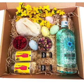 Húsvéti Búzavirág Gin Tonik szett papír díszdobozban