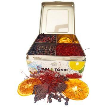 Gin Tonic Botanicals fém dobozban, osztott (hibiszkusz-boróka-chiliszál-citrom) - 165 gr