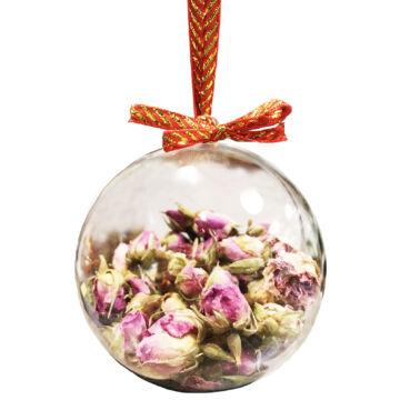 Pink Perzsa Rózsabimbó Gintonik fűszer karácsonyi gömb-ben.