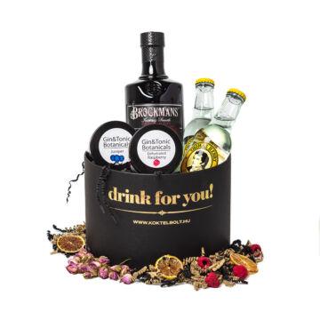 Drink For You feliratos Brockmans Gin Ajándék csomag fekete díszdobozban