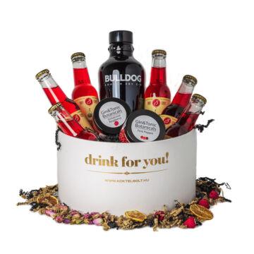Drink For You feliratos Bulldog Gin Ajándék csomag fehér díszdobozban