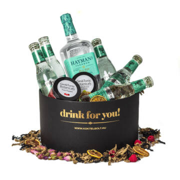 Drink For You feliratos Haymans Gin Tonik Ajándék csomag fekete díszdobozban