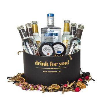 Drink For You feliratos Jodhpur Gin Tonik Ajándék csomag fekete díszdobozban