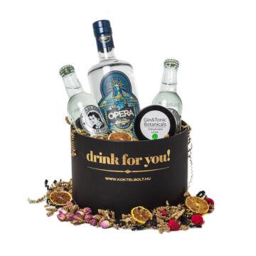 Drink For You feliratos Opera Gin Tonik Ajándék csomag fekete díszdobozban