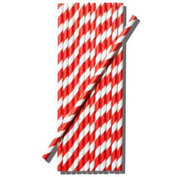 Ecohills kétszínű papír szívószál piros-fehér 100db/cs