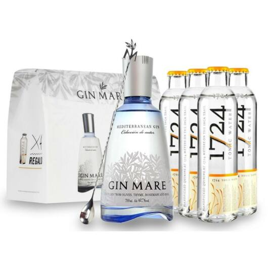 Gin Mare Mediterranean Gin 0,7L 42,7% ajándékcsomag 4db 0,2L-es 1724 tonikkal és bárkanállal
