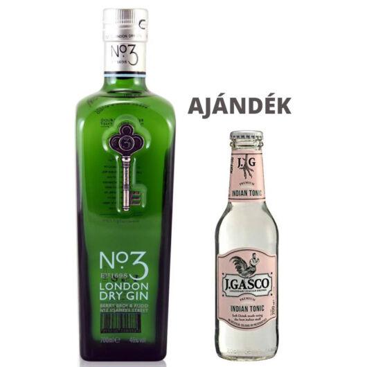 No.3 London Dry Gin 0,7L 46% + ajándék J.Gasco Indian Tonic