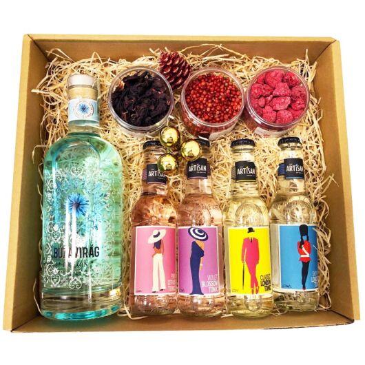Karácsonyi Delux Búzavirág Gin Tonik Szett Ginfűszerrel