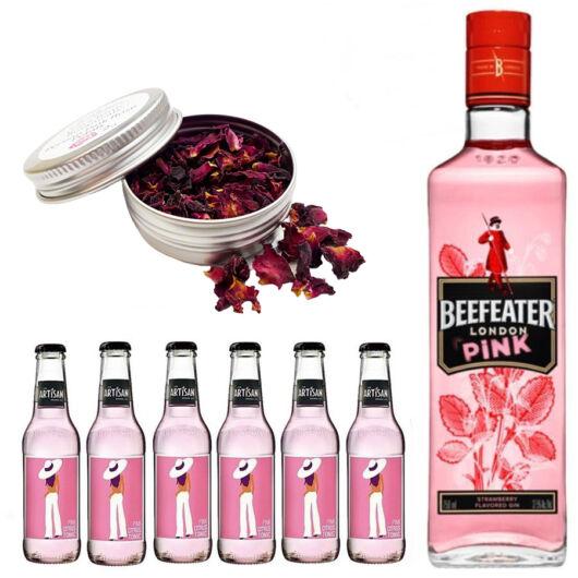 Beefeater Pink Gin Tonik szett ajándék rózsaszirommal