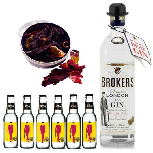 Brokers Gin Tonik szett ajándék hibiszkusz virággal