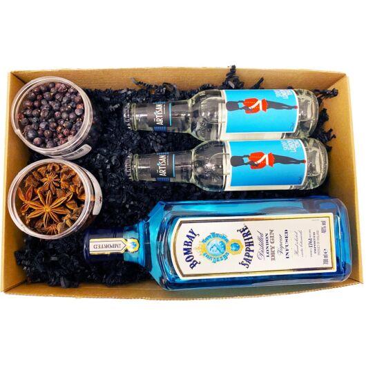 Bombay Gin Tonik szett Díszdobozban Ginfűszerrel