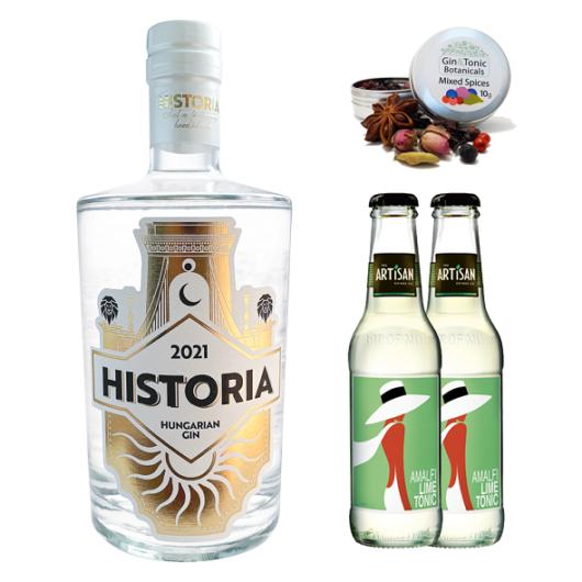 Historia Gin 0,7 Ajándék csomag 2 db Amalfi Tonikkal és ginfűszerrel