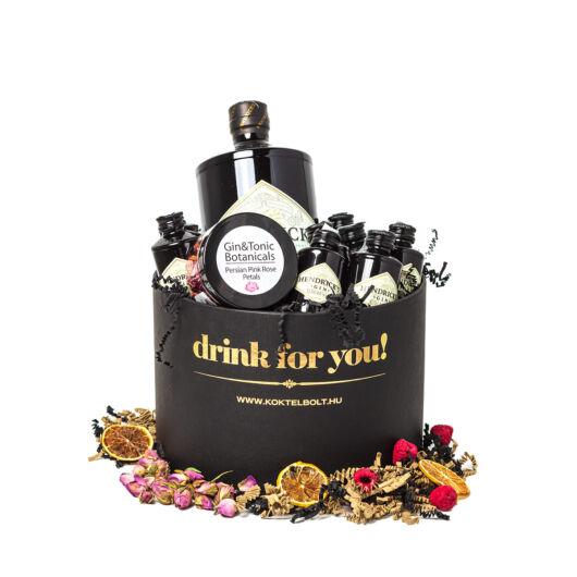 Drink For You feliratos Hendricks Gin Ajándék csomag fekete díszdobozban