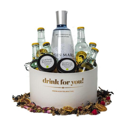 Drink For You feliratos Gin Mare Gin Tonik Ajándék csomag fehér díszdobozban