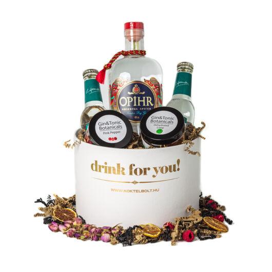 Drink For You feliratos Opihr Gin Tonik Ajándék csomag fehér díszdobozban