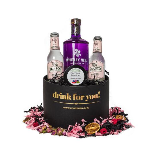 Drink For You feliratos Rebarbarás Gin Tonik ajándék csomag fekete díszdobozban