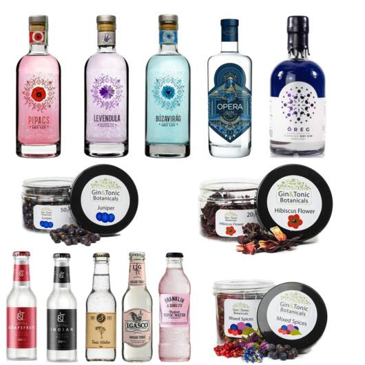 Magyar Gin Tonik válogatás 5 különböző ginnel + 5 Ajándék tonikkal és 3 Ajándék ginfűszerrel