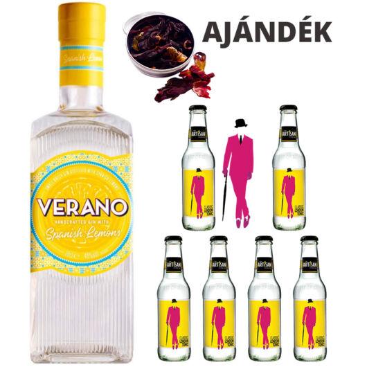 Verano Citromos Gin Tonik szett ajándék Hibiszkusz virággal