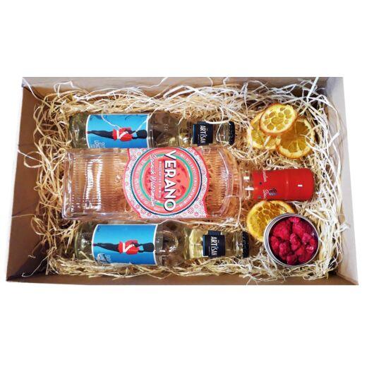 Verano Görögdinnyés Gin Tonik Szett díszdobozban ginfűszerrel