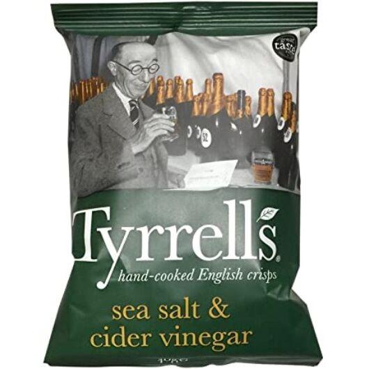 Tyrrell's Burgonyachips - Tengeri sóval és almaecettel (40g)